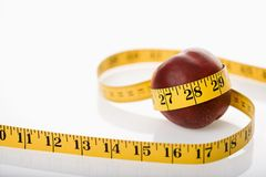 Measuring nectarine. Royalty Free Stock Image