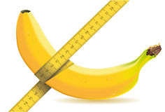 Measuring one banana with tape measure. Detailed illustration of a measuring one banana with tape measure Royalty Free Stock Photo