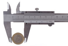 Measuring One Euro Royalty Free Stock Images