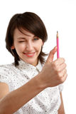 Measuring with a pencil Royalty Free Stock Photo