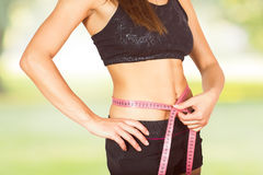 Measuring Perfect Slim Healthy Fitness Waist Stock Photo