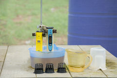 Measuring the pH of the water in hydroponic farm. Electronic pH Royalty Free Stock Photo