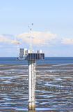 Measuring pole, dutch Waddenzee near Noordkaap Stock Photo