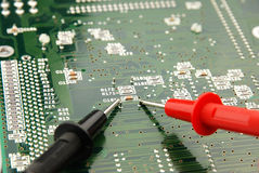 Measuring a printed circuit board Stock Images
