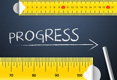 Measuring Progress. Tape Measuring Progress and Improvement Concept. Two different tape measuring progress word with chalk with metric system and imperial units royalty free stock images