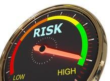Measuring risk level. Speedometer Measuring risk level on high green , 3d rendered on white background vector illustration
