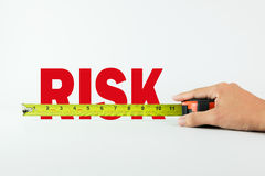 Measuring risk. Measure the word Risk with measuring tape on white background stock photo