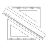 Measuring ruler and two triangles with a scale Stock Photography