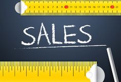 Measuring sales performance and achievement. Various way of measurement of sales objective of corporate salesperson stock illustration