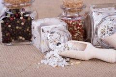 Measuring salt herbal Stock Photo