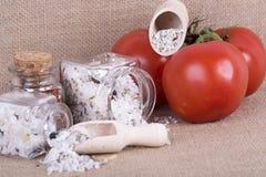 Measuring salt herbal Stock Photos