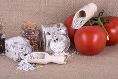 Measuring salt herbal Stock Images
