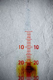 Measuring scale on the textured wall Royalty Free Stock Photos