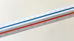 Measuring scale on white background. Measuring scale close up on white background Stock Image