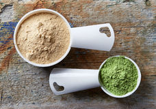 Measuring scoops of maca and barley or wheat grass powders Stock Images