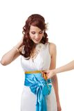 Measuring size under the breast Royalty Free Stock Photography