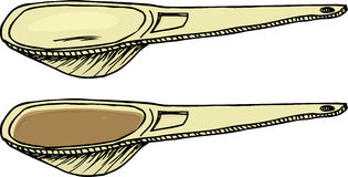 Measuring Spoon. Cartoon of empty and full measuring spoon over white Royalty Free Stock Images