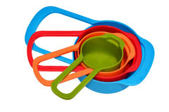 Measuring spoons with colorful. With white background Royalty Free Stock Photography