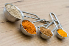 Measuring spoons with spices Royalty Free Stock Image