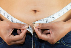 Measuring stomach. An abstract of a woman measuring her stomach Stock Photo