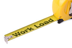 Measuring success. Concept of measuring work load on a tape measure isolated on a white background Royalty Free Stock Photos