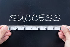 Measuring success. Tape measuring the word success on a chalk board Royalty Free Stock Photography