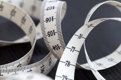 Measuring tailor tape. Closeup, macro. On numbers, industrial concept Stock Images