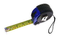 Measuring Tape. A measuring tape, showing 4 inches, isolated on white Royalty Free Stock Images