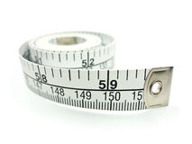 Measuring Tape. Isolated on white background with shadow royalty free stock photography