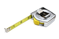 Measuring Tape. Single measuring tape displaying three inches isolated on white backdrop Stock Photo