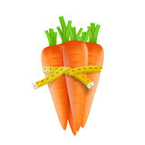 Measuring tape around a carrot Stock Photos