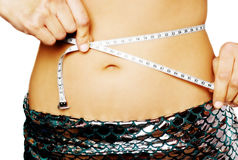 Measuring tape on belly Stock Photography