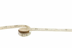 Measuring tape and coins Royalty Free Stock Image