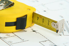 Measuring tape on drawing Stock Photography