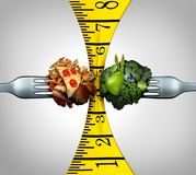 Measuring Tape Food. And weight control squeeze concept as two forks with junk food and healthy fruit and vegetables squeezing a measure tool with 3D royalty free illustration