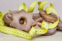 Measuring tape and Gingerbreads Stock Image