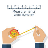 Measuring tape in hand. Measuring tape in the hands of the person making the measurements. Vector illustration flat design isolated on white background Stock Photography