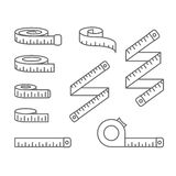 Measuring tape icons - reel, tape measure and bobbin, diet and lose weight. Concept stock illustration