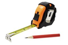 Measuring tape and marking pencil Royalty Free Stock Photo