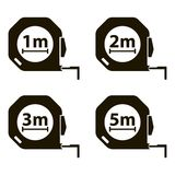 Measuring tape. Measurement methods. Set of black icons Stock Photos