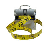 Measuring Tape with Metal Lunch Box Royalty Free Stock Photo