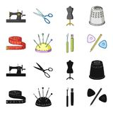 Measuring tape, needles, crayons and pencil.Sewing or tailoring tools set collection icons in black,cartoon style vector. Symbol stock illustration Royalty Free Stock Photography