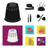 Measuring tape, needles, crayons and pencil.Sewing or tailoring tools set collection icons in black, flat style vector. Symbol stock illustration Royalty Free Stock Photos