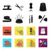 Measuring tape, needles, crayons and pencil.Sewing or tailoring tools set collection icons in black,flet style vector. Symbol stock illustration Royalty Free Stock Photography