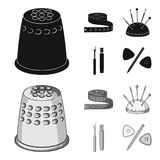 Measuring tape, needles, crayons and pencil.Sewing or tailoring tools set collection icons in black,monochrom style. Vector symbol stock illustration Stock Photos