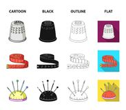 Measuring tape, needles, crayons and pencil.Sewing or tailoring tools set collection icons in cartoon,black,outline,flat. Style vector symbol stock illustration Stock Images