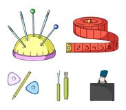 Measuring tape, needles, crayons and pencil.Sewing or tailoring tools set collection icons in cartoon style vector. Symbol stock illustration Royalty Free Stock Images