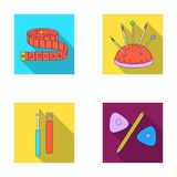 Measuring tape, needles, crayons and pencil.Sewing or tailoring tools set collection icons in flat style vector symbol Royalty Free Stock Image
