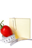 Measuring tape - Notepaper - healthy food and diet Royalty Free Stock Image