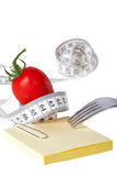 Measuring tape - Notepaper - healthy food and diet Royalty Free Stock Photography